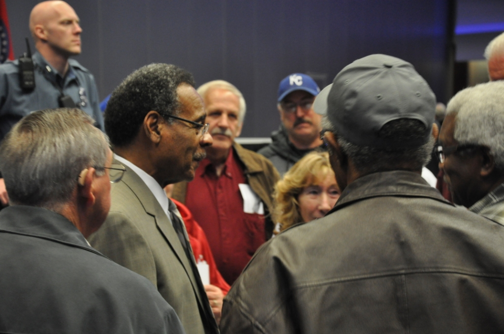 REC talks with constituents after town hall