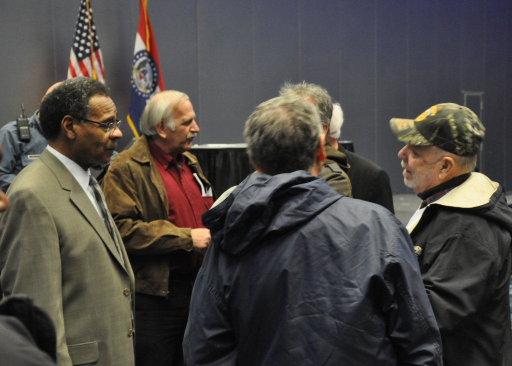 REC speaking with constituents after town hall
