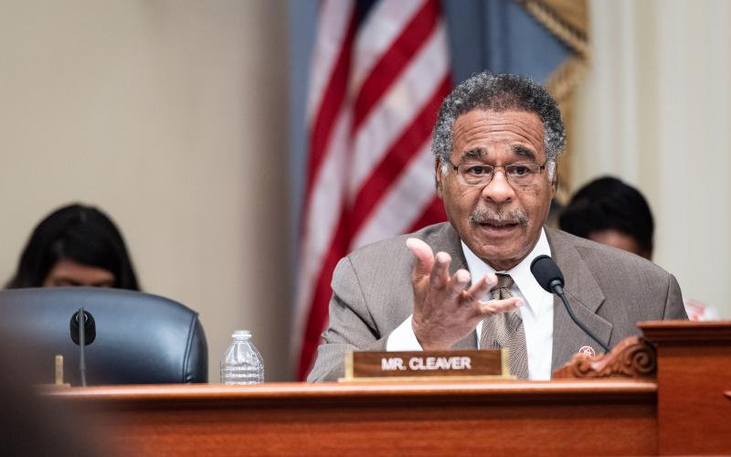 Rep. Cleaver speaking from behind a desk