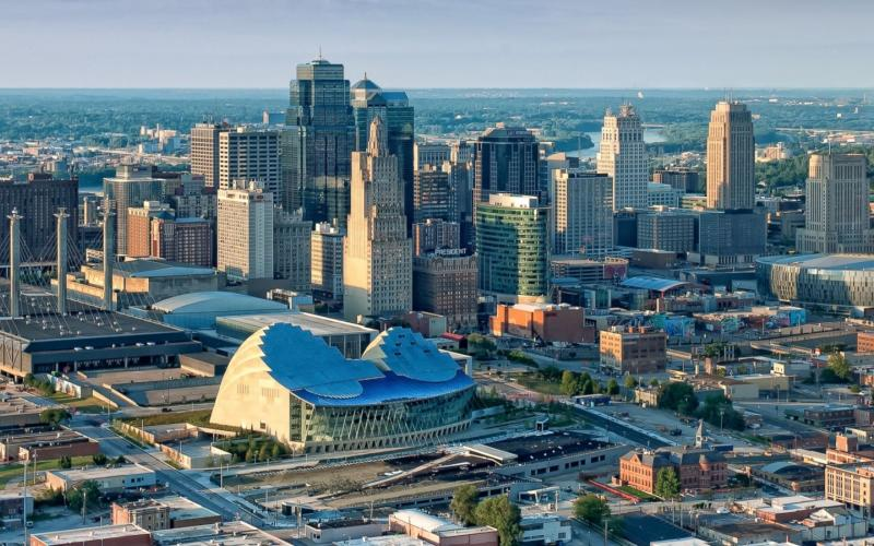 Image of downtown Kansas City from the air