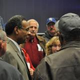 Congressman Cleaver speaks to constituents after Town Hall Meeting on Pensions