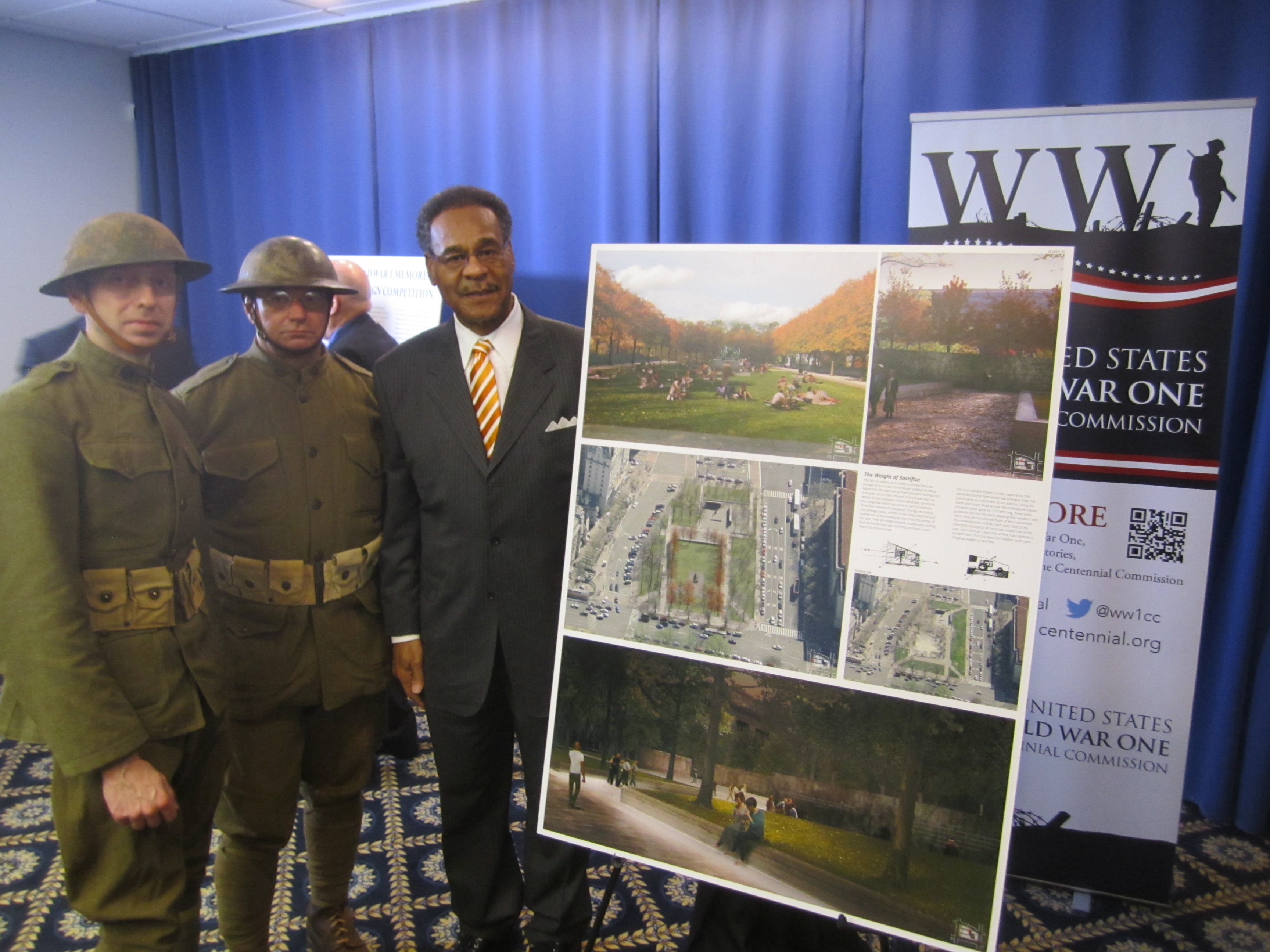 Congresman Cleaver joins World War I reenactors at the World War I Centennial Commission's announcement on Tuesday.